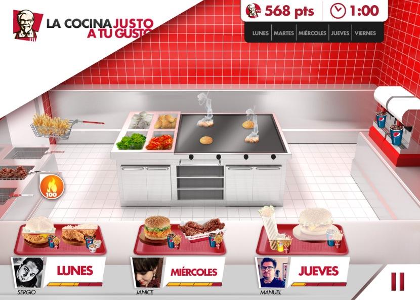 KFC la cocina justo a tu gusto app juego on line hamburguesa cocina pollo bebida refresco papas fritas receta cruji